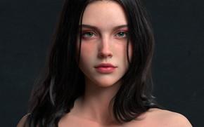 Picture girl, hair, look, 3d art, Chen Wang, Poker girl