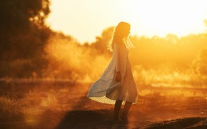 Picture girl, the sun, light, pose, dress, Vadim Mironov