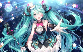 Picture girl, hand, Hatsune Miku, Vocaloid, Vocaloid, Hatsune Miku