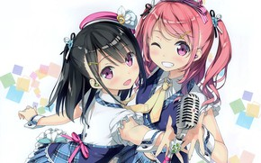 Picture smile, tie, microphone, fun, wink, ruffles, pink hair, two tails, two girls, by Kantoku