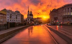 Picture road, sunset, the city, street, building, home, Peter, Saint Petersburg, Gordeev Edward, Eduard Gordeev, Ed …