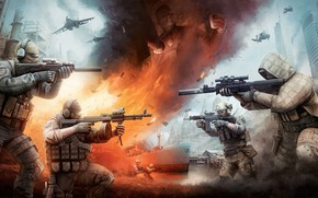 Picture Fire, Ship, Soldiers, Weapons, Art, Sniper, Scout, Destroyer, Attack, Mercenaries, Helicopters, Aircraft, BEAR, USEC, hops, …