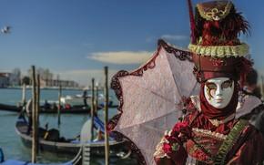 Picture umbrella, mask, carnival costume