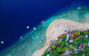 Picture people, shore, home, catamaran, Philippines