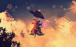Picture the sky, girl, umbrella, flies, reinforced