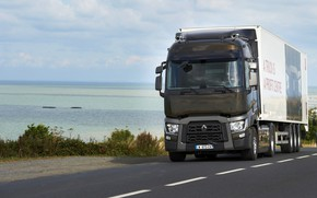 Picture road, shore, truck, Renault, tractor, 4x2, the trailer, Renault Trucks, T-series