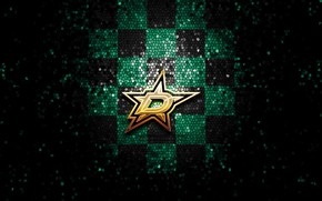 Picture wallpaper, sport, logo, NHL, hockey, glitter, checkered, Dallas Stars