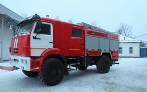 Picture winter, the sky, snow, cabin, wheel, fire truck, big car, Камаз-43502, АЦ-3-40, АЦ-3-40 КАМАЗ-43502