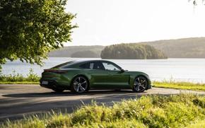 Picture grass, Porsche, Parking, Turbo S, 2020, the shore, Taycan