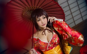 Wallpaper chest, look, girl, yellow, red, face, pose, eyelashes, style, background, red, portrait, blur, umbrella, hands, ...