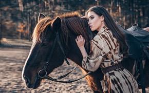 Picture girl, pose, horse, horse, Maria, Anton Kharisov