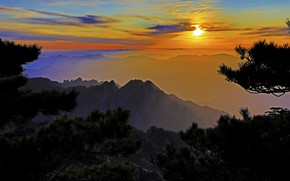 Picture the sun, clouds, sunset, China, Anhui, Huangshan mountain
