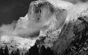 Picture winter, snow, trees, mountains, nature, fog, rocks, black and white, USA, Yosemite, monochrome
