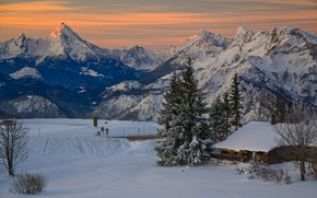 Picture winter, snow, landscape, mountains, nature, house, dawn, morning, Austria, Alps