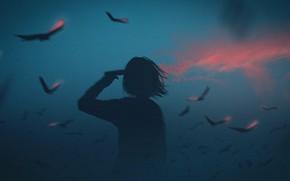 Picture girl, gun, smoke, crows