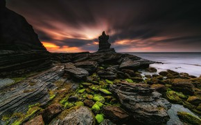 Picture sea, the sky, clouds, sunset, clouds, rock, stones, rocks, shore, coast, twilight, the evening, green, …