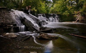 Picture forest, rocks, waterfall, Canada, Ontario