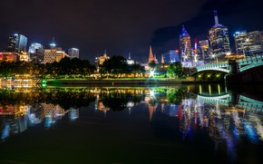 Picture water, trees, night, bridge, lights, reflection, river, building, home, Australia, lights, Melbourne