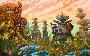 Picture beauty, plants, the magical world, spaceship, spaceship, beauty, plants, fantasy art, another planet, another planet, …
