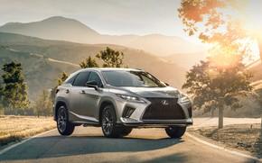 Picture road, auto, the sun, mountains, nature, Lexus, 350 F
