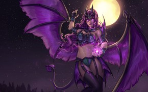 Picture the sky, girl, stars, night, the moon, wings, the demon, art, tail, horns, the full ...