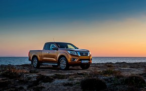 Picture sunset, shore, Nissan, pickup, Navara, King Cab