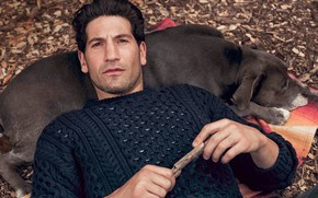 Picture look, pose, dog, actor, Jon Bernthal, John Bernthal