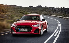 Picture road, car, machine, mountains, Audi, speed, red, front, red car, rides, red car, Audi RS7, …