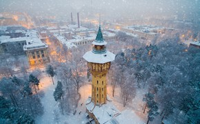 Picture tower, winter, factory, cold, chimneys