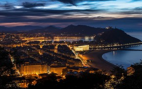 Picture night, lights, Bay, panorama, Bay, Spain, San Sebastian