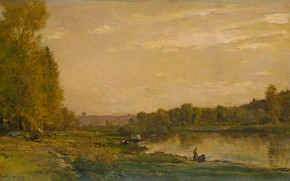 Picture oil, picture, 1872, Charles-Francois Daubigny, Charles-François Daubigny, Landscape with river Uazoy