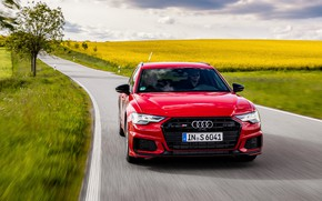 Picture road, red, Audi, field, plants, universal, 2019, A6 Avant, S6 Before