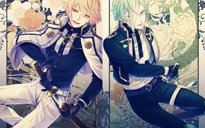 Picture katana, gloves, military uniform, shoulder straps, sheath, bangs, two guys, floral pattern, aiguillette, Touken Ranbu, …