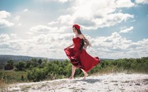 Picture girl, the wind, hair, dress, Maxim Tumanov