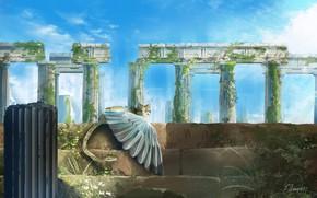 Picture fantasy, ruins, Chimera
