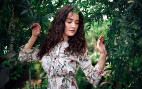 Picture girl, pose, vegetation, hands, dress, Sergey Olszewski, Alisa Musina