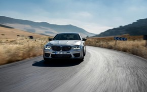 Picture road, grey, movement, speed, BMW, sedan, 4x4, 2018, four-door, M5, V8, F90, M5 Competition