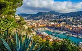 Picture mountains, France, building, home, Bay, yachts, port, panorama, France, Cote d'azur, French Riviera, Nice, Nice, ...