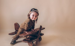 Picture toy, the game, boy, baby, costume, the plane, child, pilot