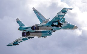 Wallpaper the sky, flight, fighter-bomber, Su-34, Su-34