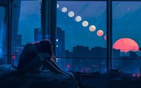Picture Girl, Night, Figure, The moon, Windows, Alena Aenam The, by Alena Aenami, Aenami Art