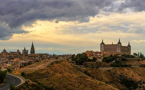 Picture road, the sky, clouds, trees, landscape, home, Spain, Toledo