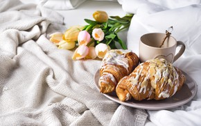 Picture coffee, Cup, bed, tulips, romantic, tulips, coffee cup, croissants, growing, breakfast