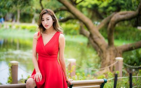 Picture girl, red, sweetheart, dress, Asian