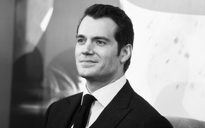 Picture look, pose, costume, actor, black and white, Henry Cavill, Henry Cavill