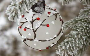 Picture winter, snow, branches, holiday, ball, ball, Christmas, New year, needles, bokeh, Christmas decorations, Christmas decorations, …