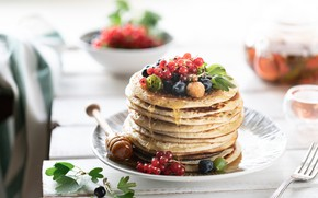 Picture berries, tea, honey, Cup, pancakes, blueberries, currant, raspberry
