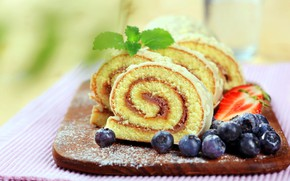 Picture berries, blueberries, mint, wood, roll, cutting Board, biscuit