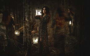 Picture forest, look, girl, trees, branches, darkness, girls, trunks, blur, mystic, dress, lights, witch, twilight, ghosts, …