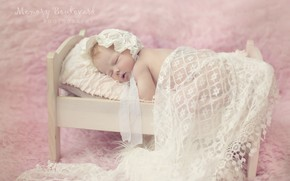 Picture sleeping, lace, baby, cot